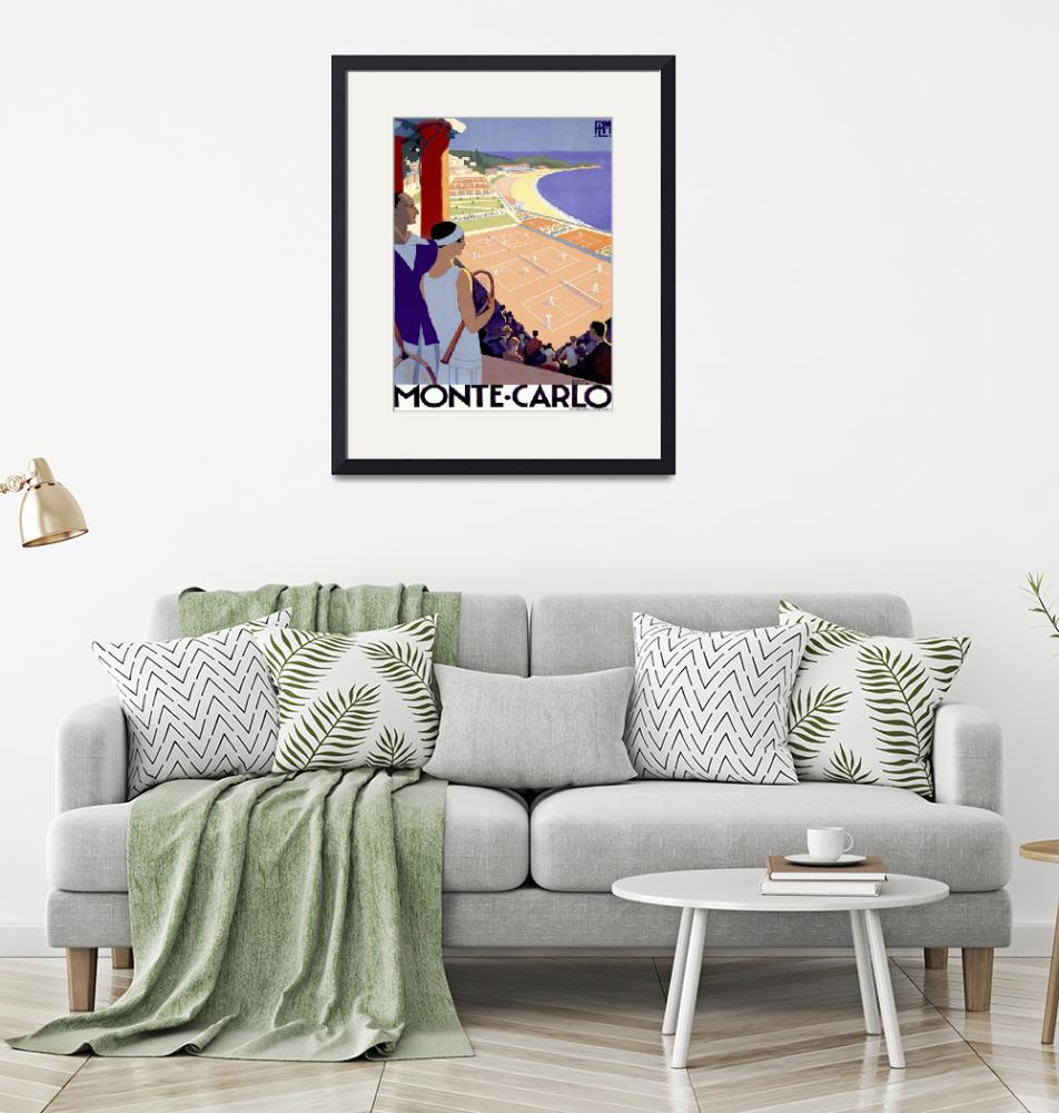 """Monte Carlo Vintage Tennis Poster""  by FineArtClassics"