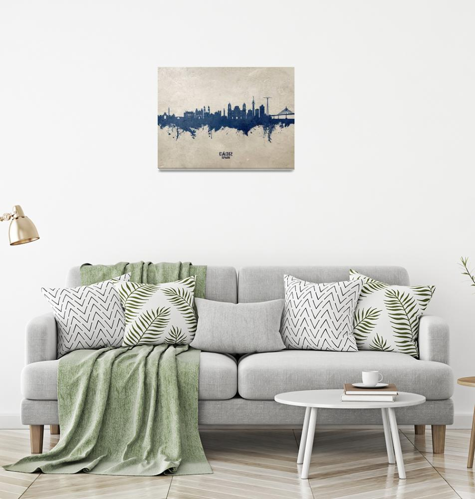 """Cádiz Spain Skyline""  (2020) by ModernArtPrints"
