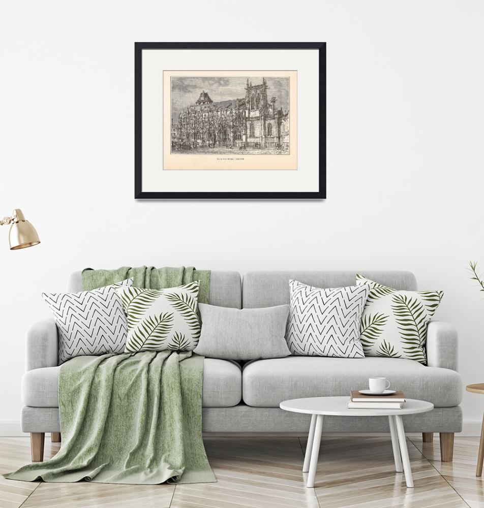 """""""Gravure Notre Dame Louviers by H. Clerget"""" by FineArtClassics"""