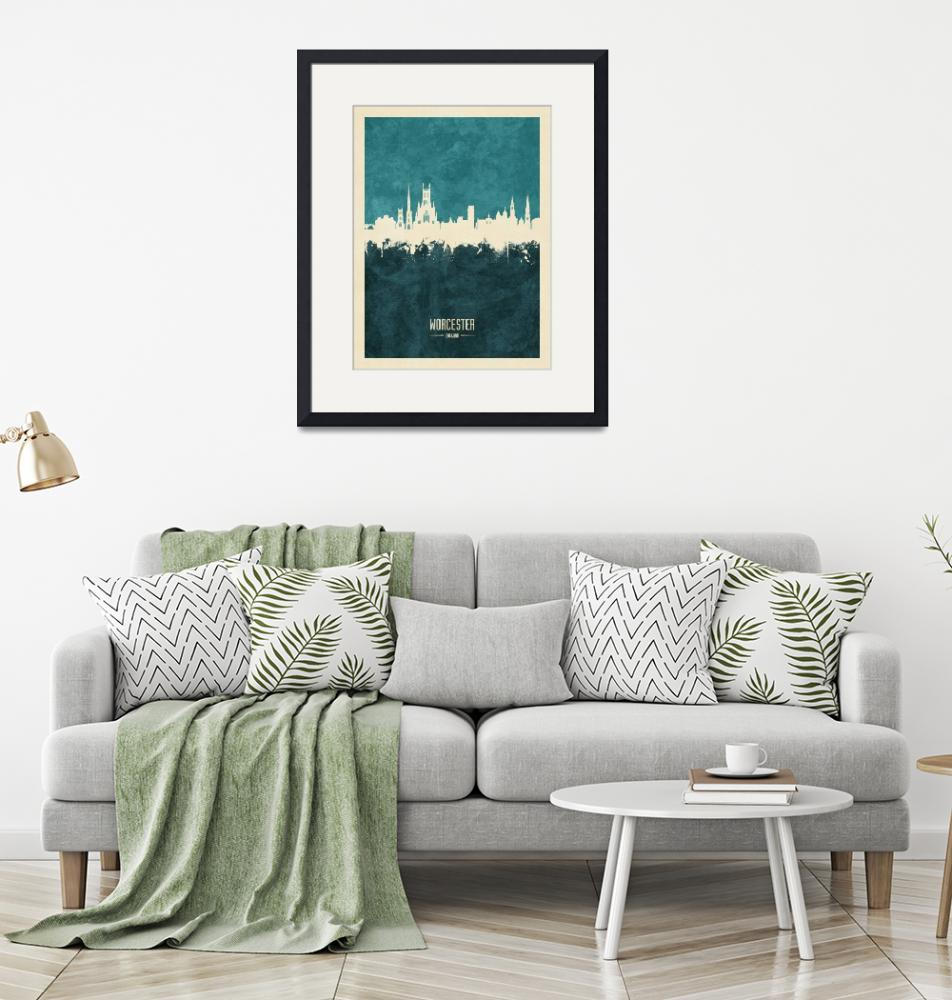 """Worcester England Skyline""  (2019) by ModernArtPrints"