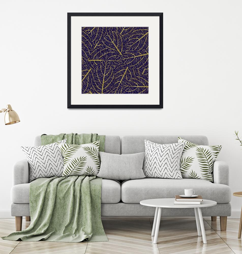 """Purple & Gold Leaves Abstract Design""  (2019) by ImageMonkey"