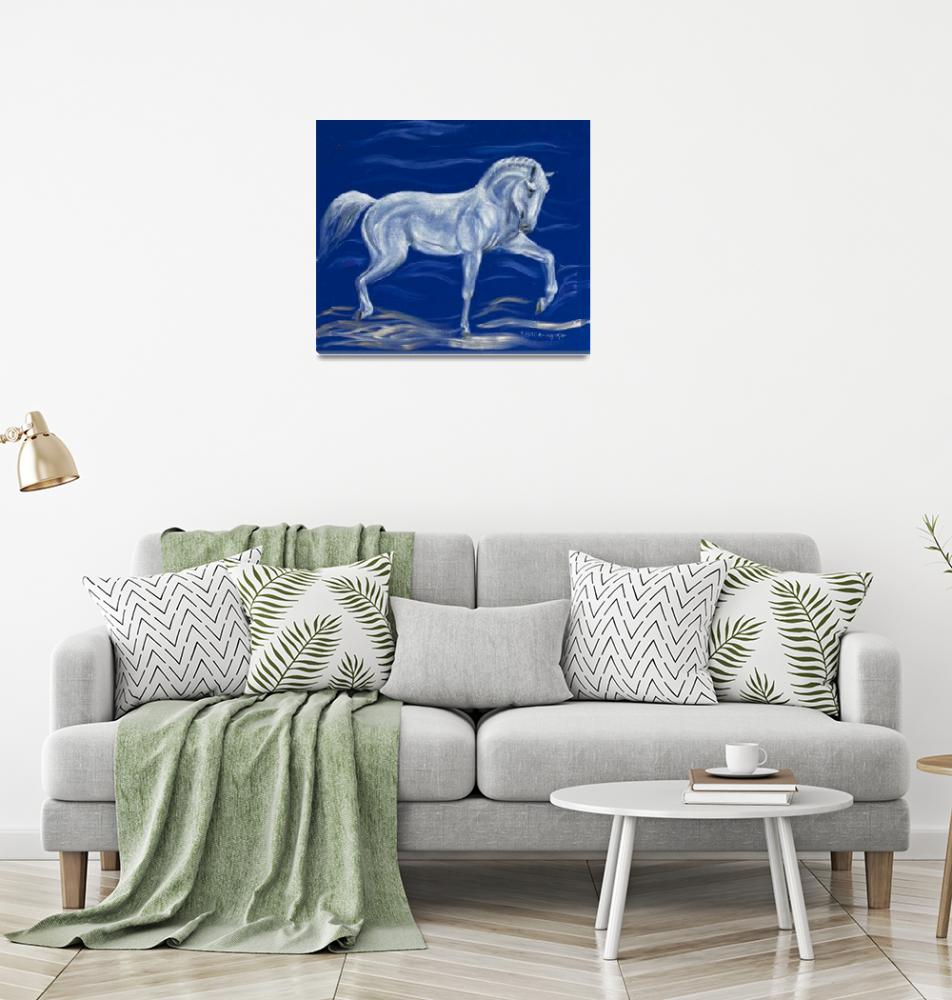 """""""White horse on blue velvet""""  (2008) by kunst-grafik"""
