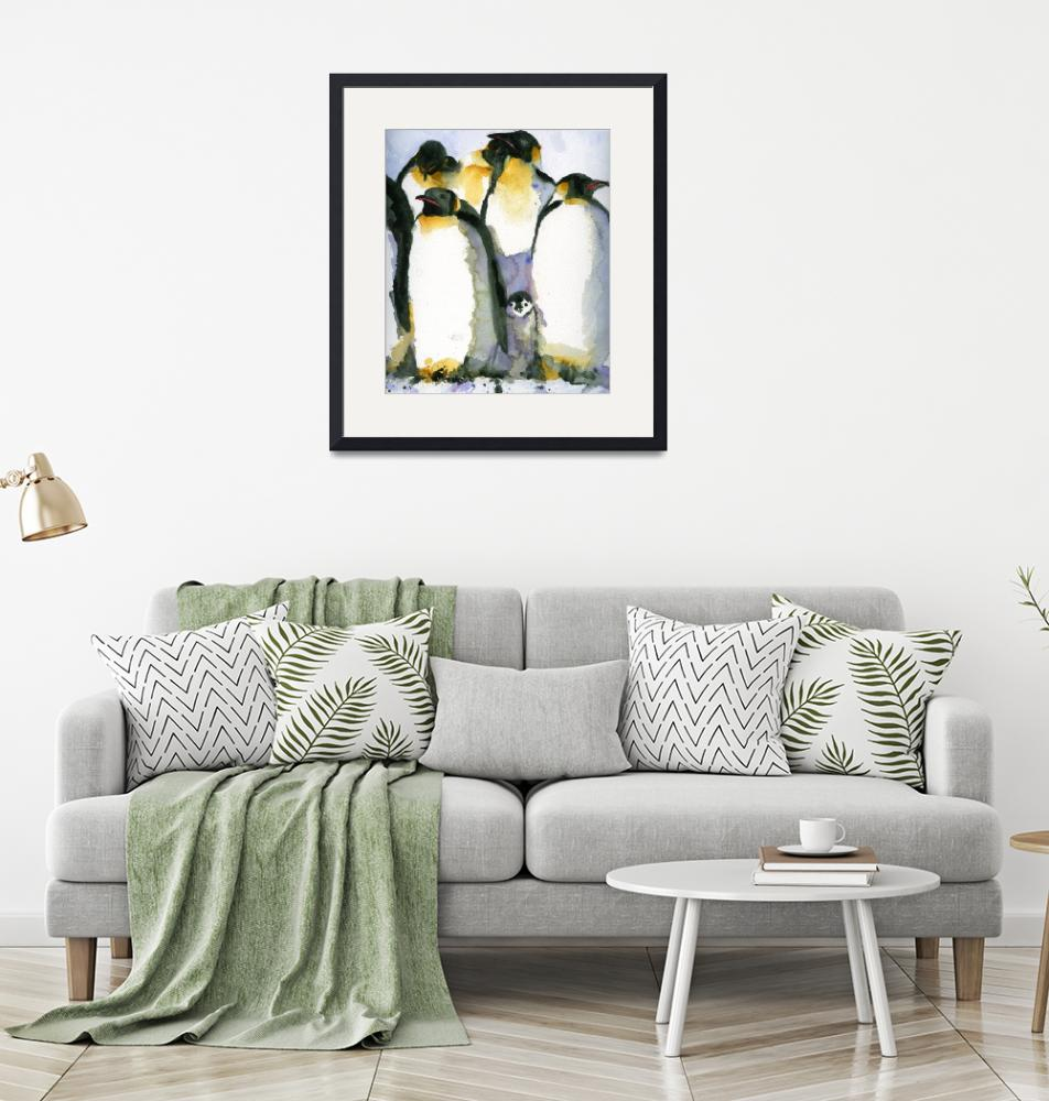 """""""Just Chillin, Watercolor Painting of Penguins art""""  by schulmanart"""