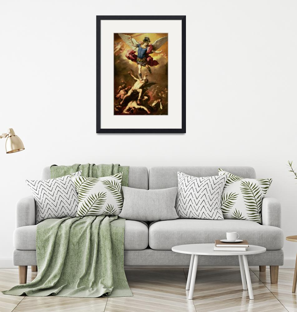 """""""Archangel Michael overthrows the rebel angel, c.16""""  by fineartmasters"""