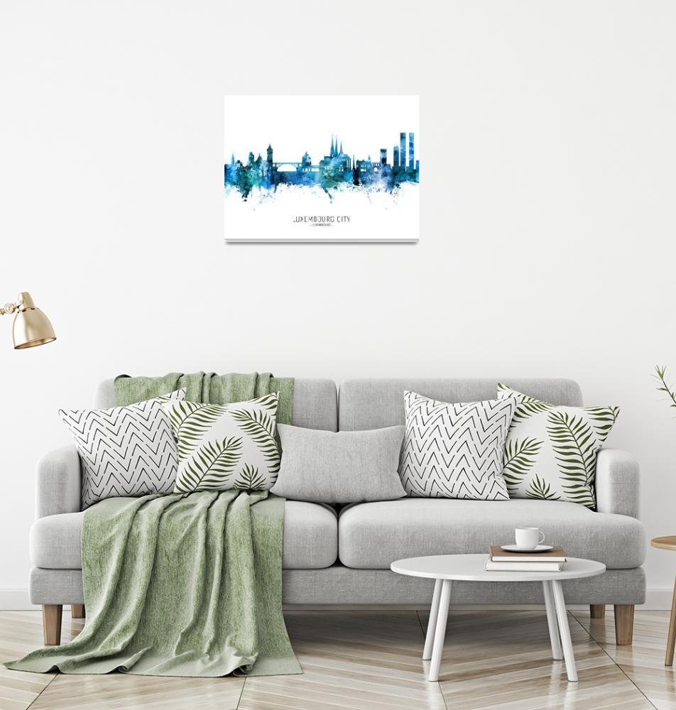 """Luxembourg City Skyline""  (2020) by ModernArtPrints"