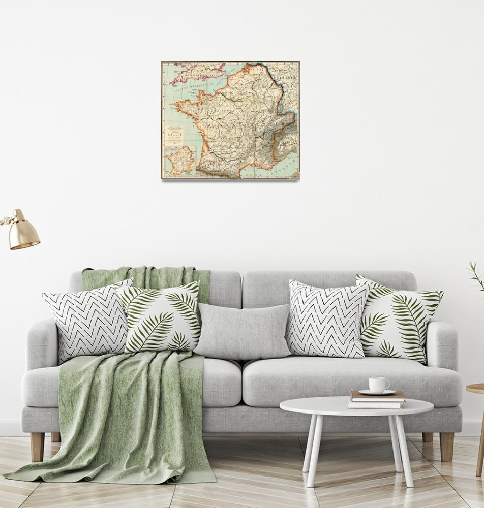 """""""Vintage Map of France (1887)""""  by Alleycatshirts"""