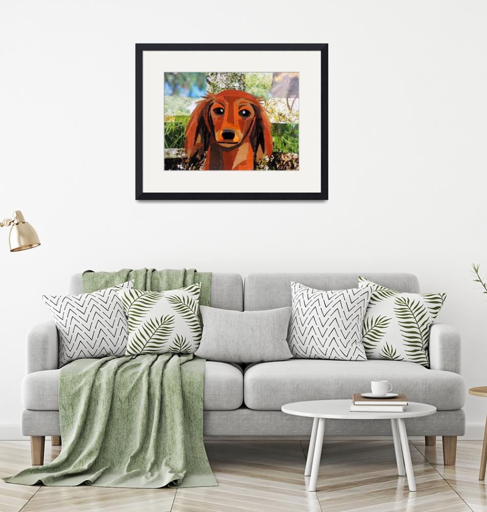 """""""The Long Haired Dachshund""""  (2020) by megancoyle"""