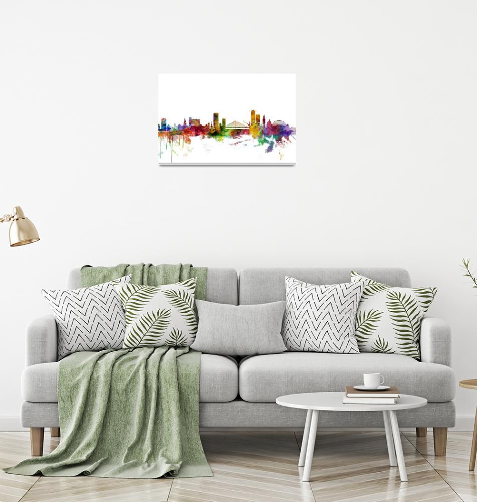 """Liege Belgium Skyline""  (2014) by ModernArtPrints"