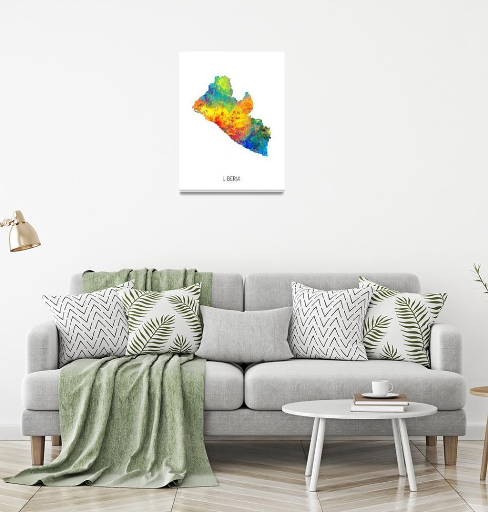 """Liberia Watercolor Map""  (2019) by ModernArtPrints"