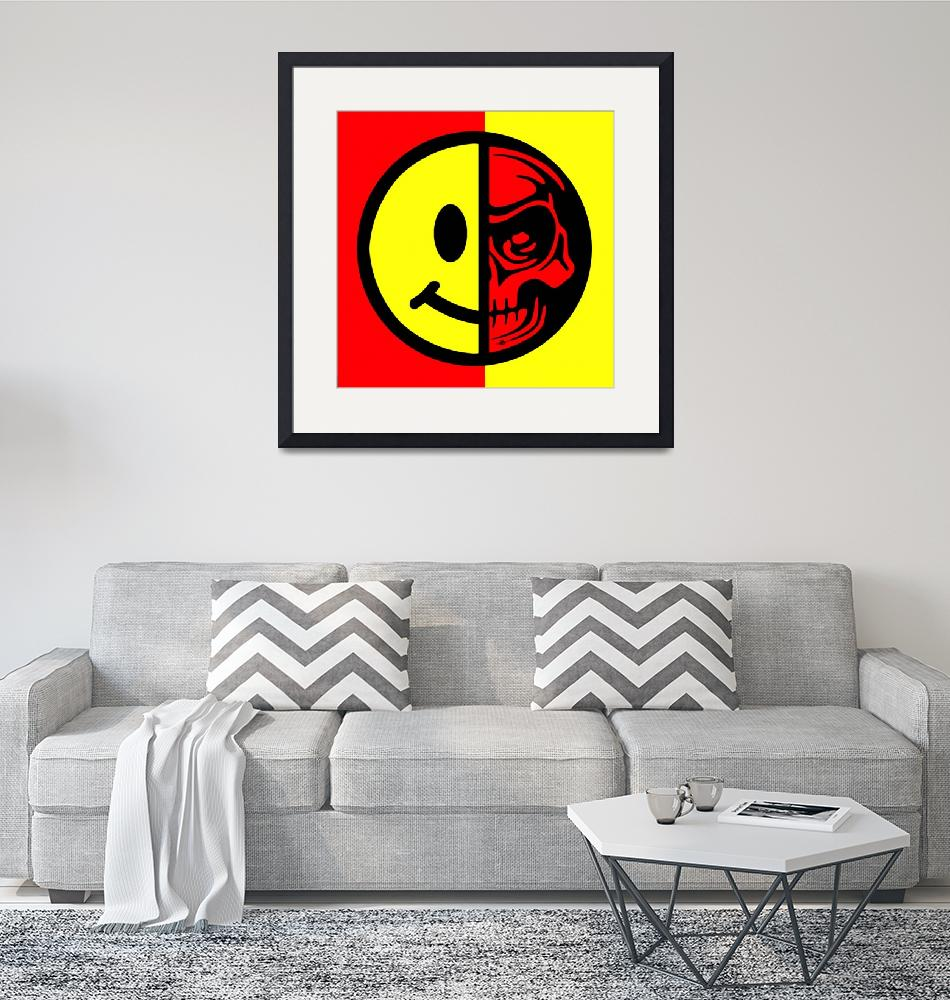 """Smiley Face Skull Yellow Red""  (2015) by RubinoFineArt"