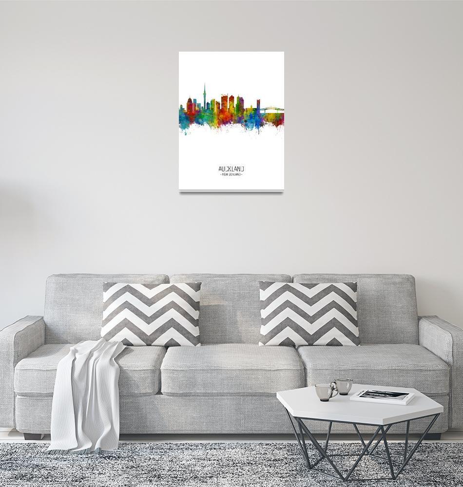 """""""Auckland New Zealand Skyline""""  (2018) by ModernArtPrints"""