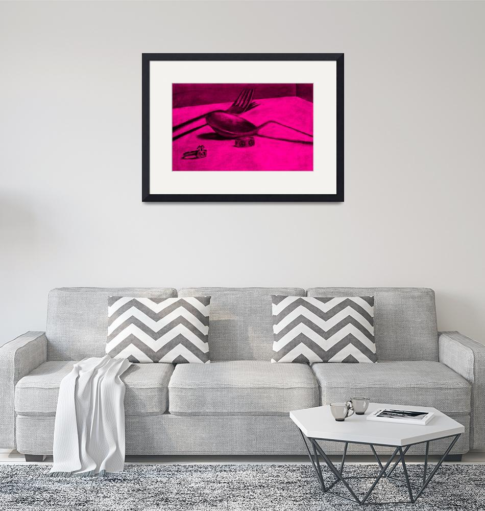 """""""a spoonful of peace and love (pink)""""  by alansmithart"""