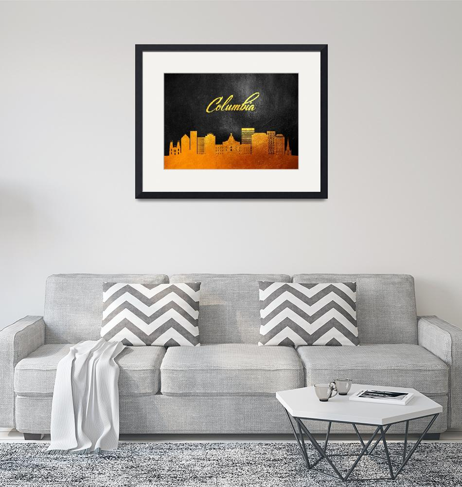 """""""Columbia South Carolina Gold Skyline""""  (2019) by ABConcepts"""