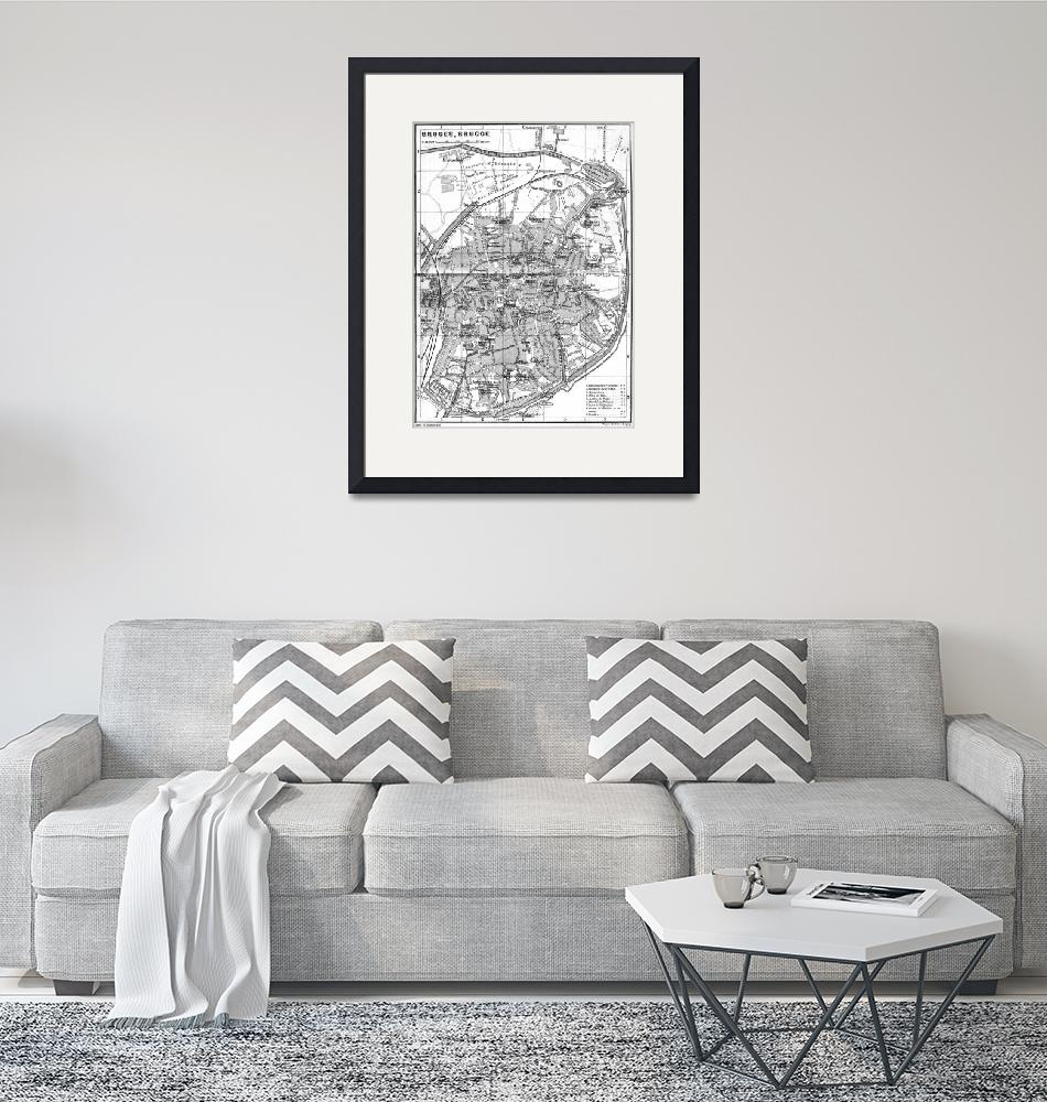 """""""Vintage Map of Bruges (1905) BW""""  by Alleycatshirts"""