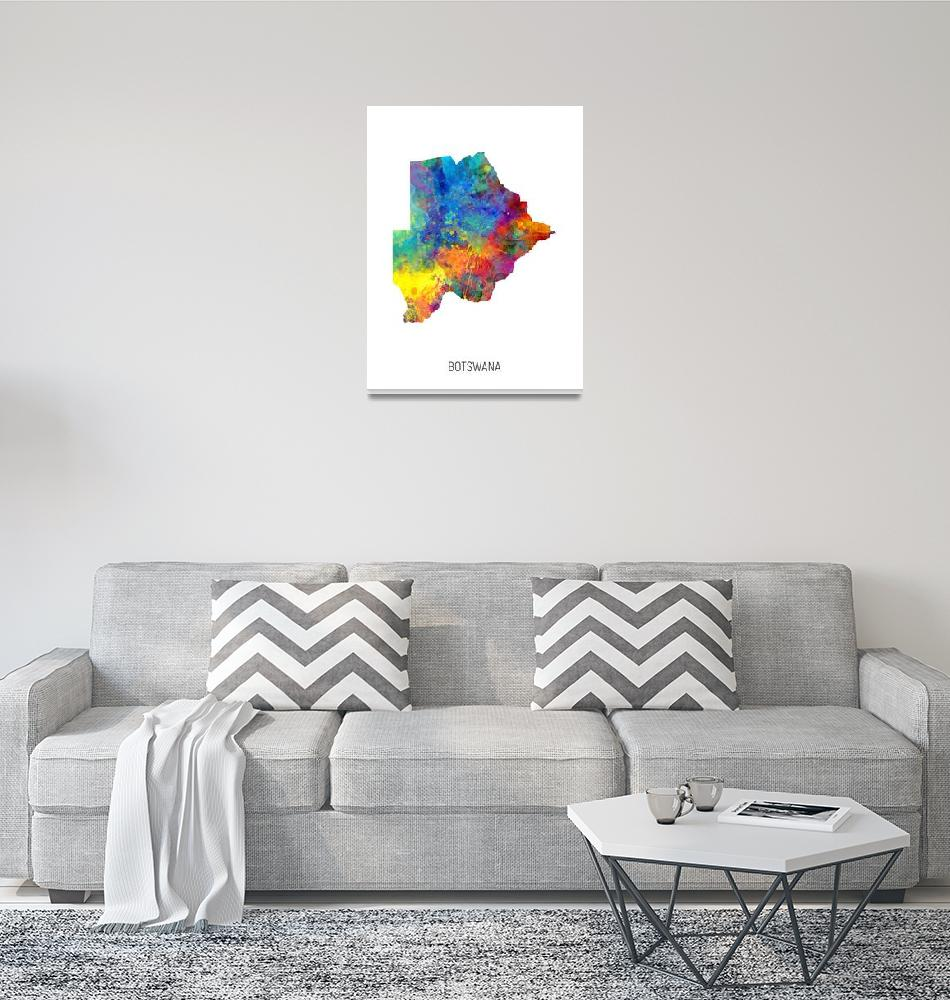 """Botswana Watercolor Map""  (2019) by ModernArtPrints"
