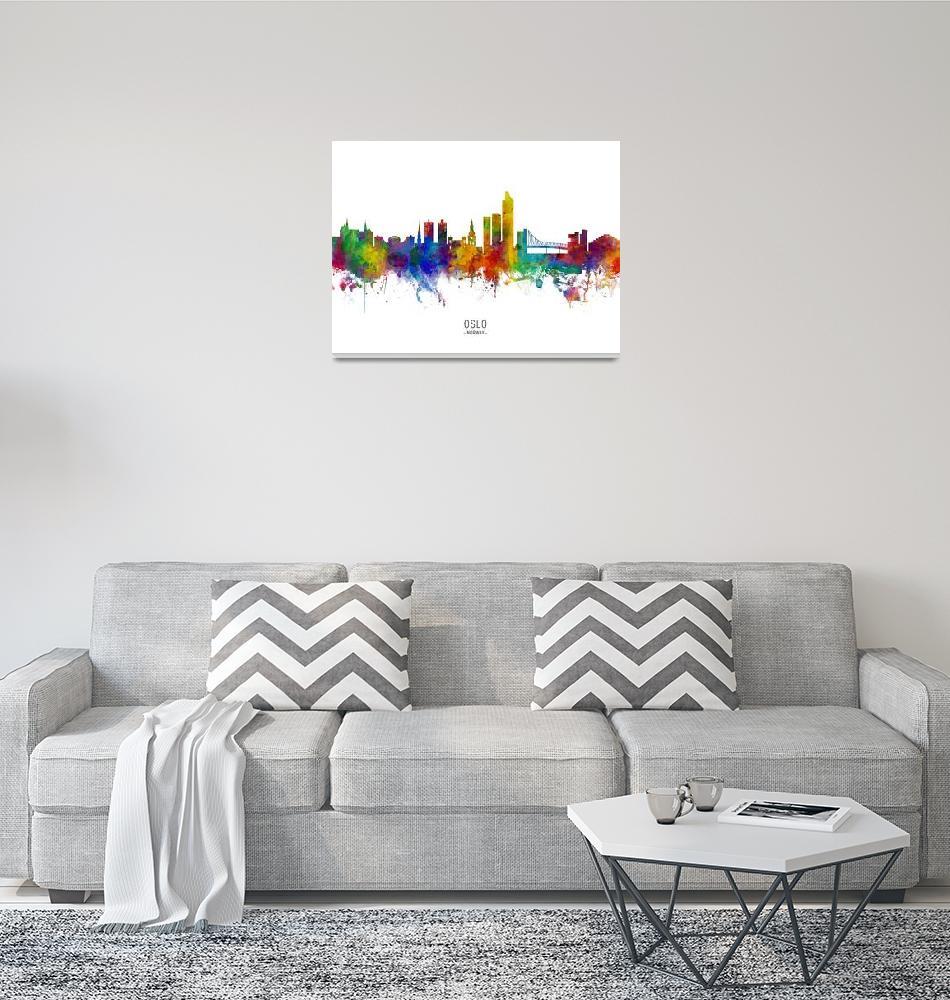 """Oslo Norway Skyline""  (2019) by ModernArtPrints"
