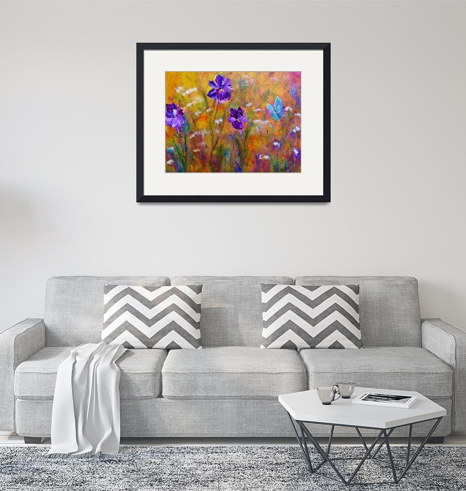 """""""Iris, Wildflowers and Butterfly""""  (2010) by artbyclaire"""