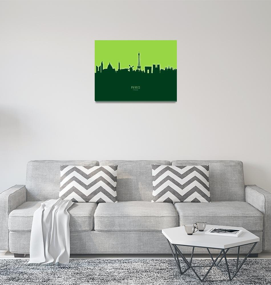"""Paris France Skyline""  (2020) by ModernArtPrints"