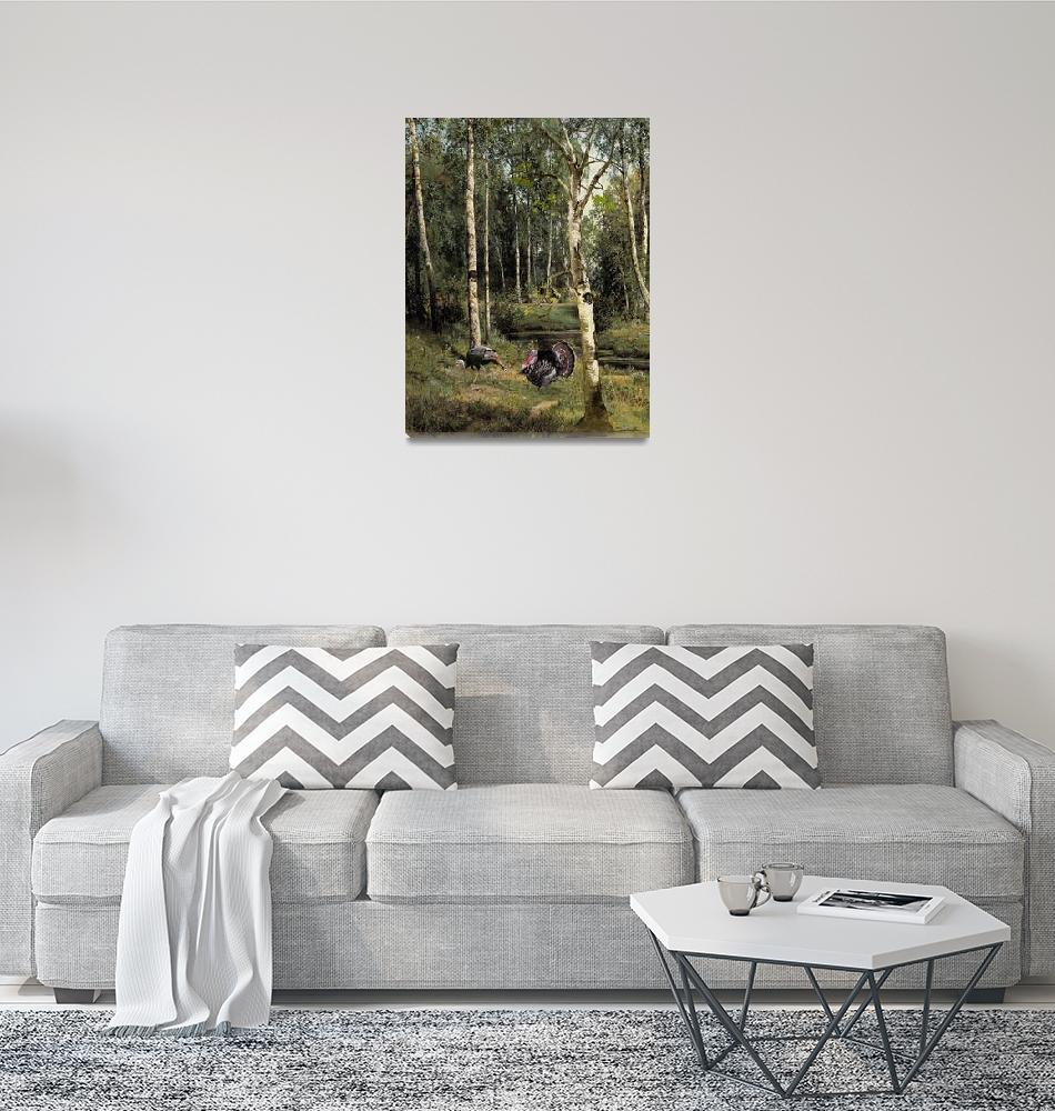 """""""Wild Turkeys in Birch Tree Forest""""  (2017) by spadecaller"""