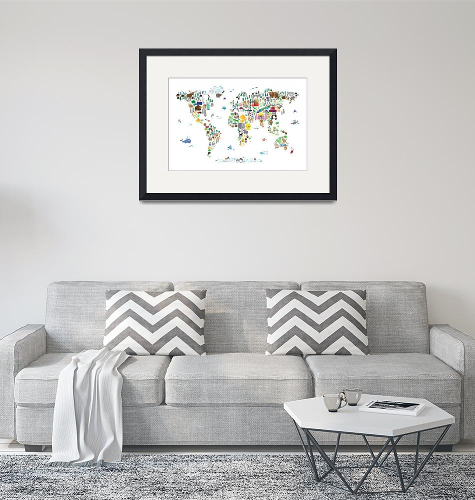 """""""Animal Map of the World for children and kids""""  (2013) by ModernArtPrints"""