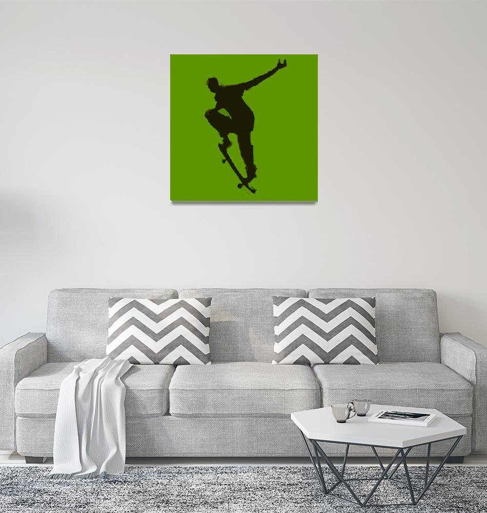 """Skateboarder 1 . green gold black (c)""  (2014) by edmarion"