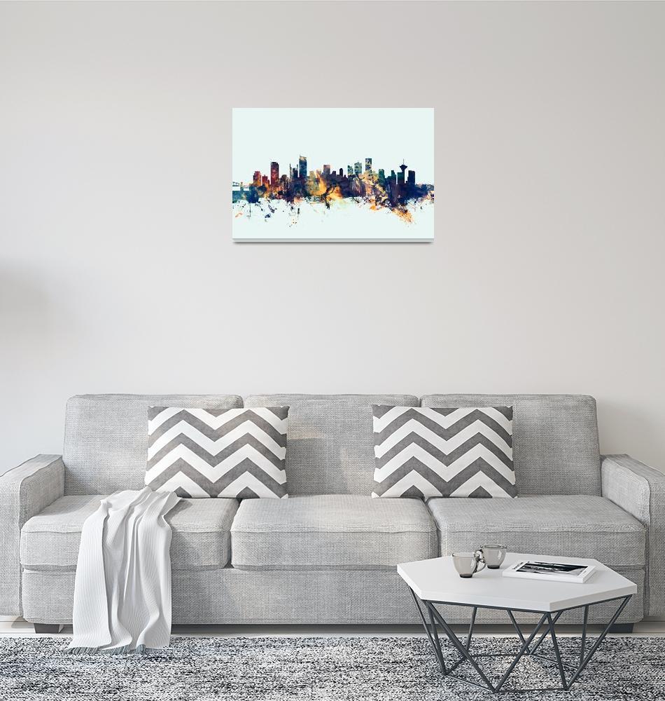 """Vancouver Canada Skyline""  (2017) by ModernArtPrints"