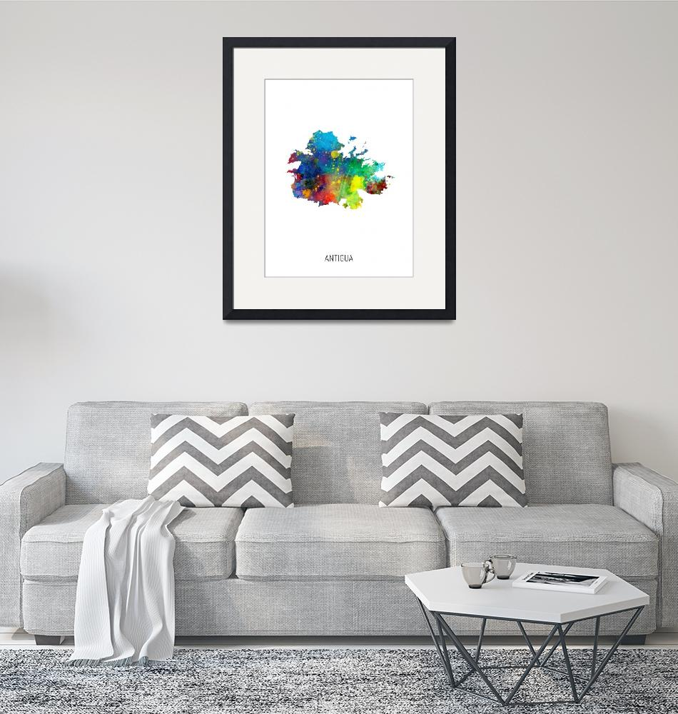 """Antigua Watercolor Map""  (2019) by ModernArtPrints"