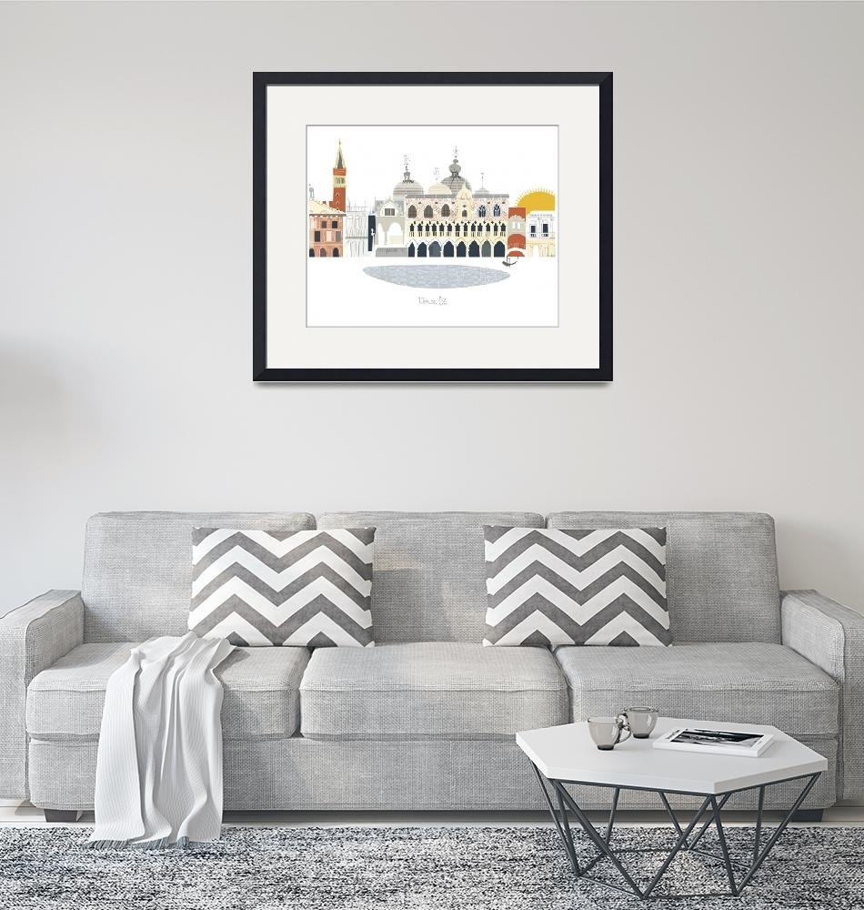 """""""Venice Modern Cityscape Illustration""""  by AlbieDesigns"""