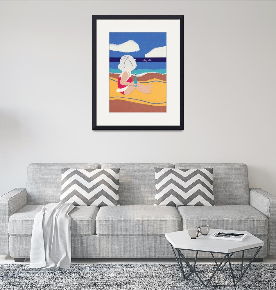 """Baby at the Beach""  (1989) by RosemaryMcGuirk"