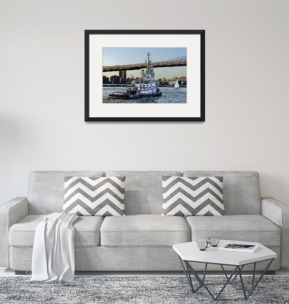 """""""Tug Boat along the East River""""  (2014) by New-Yorkled"""