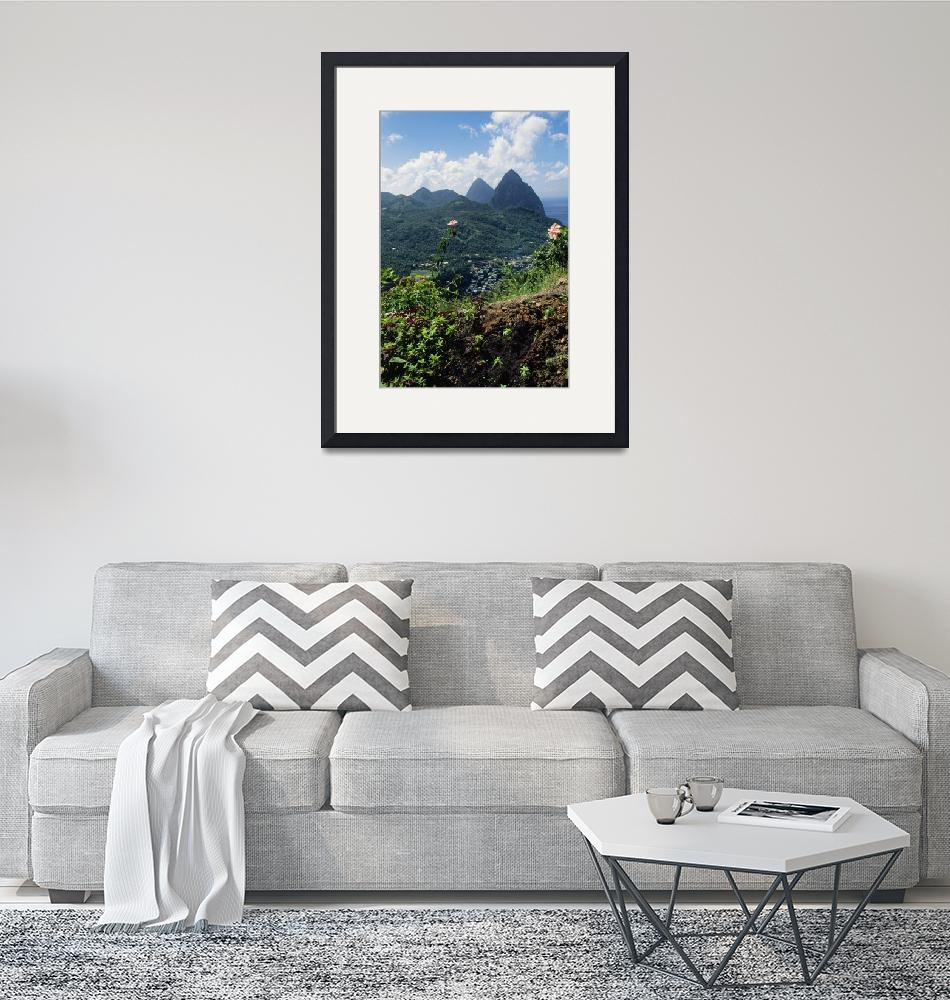 """""""Landscape with Petit and Gros Piton mountain peak""""  by Panoramic_Images"""