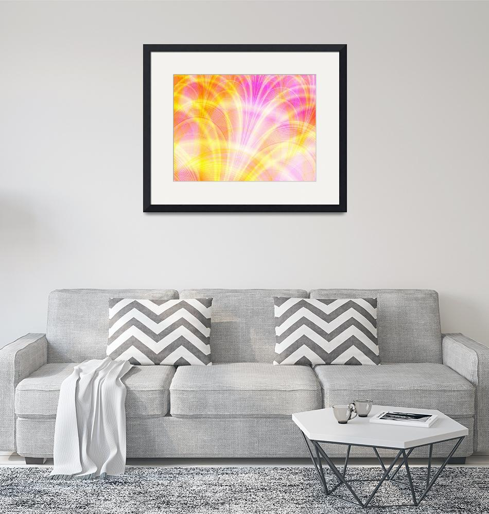 """""""Beautiful Pink and Yellow Fractal""""  (2007) by LisaEwingArt"""