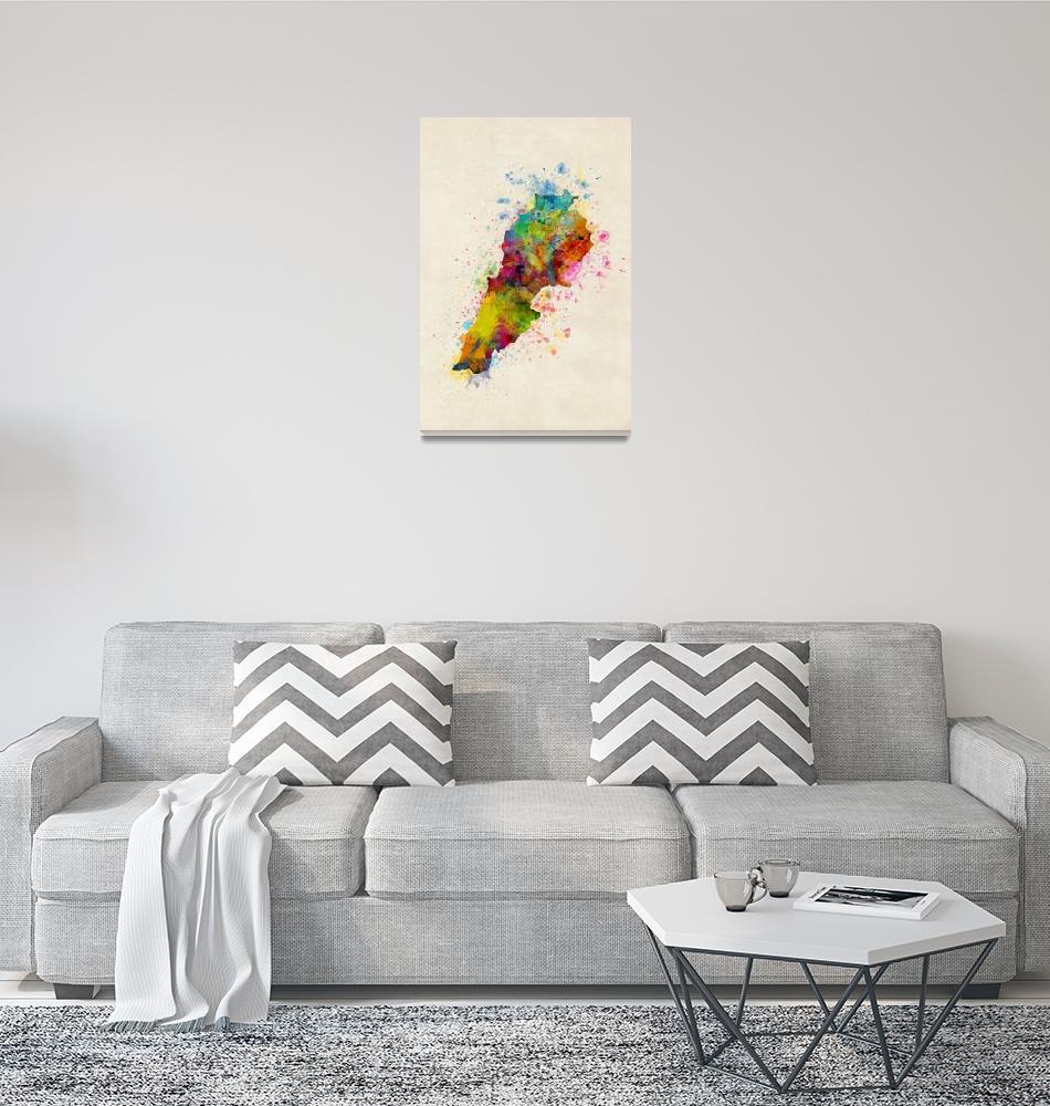 """""""Lebanon Watercolor Map""""  (2017) by ModernArtPrints"""