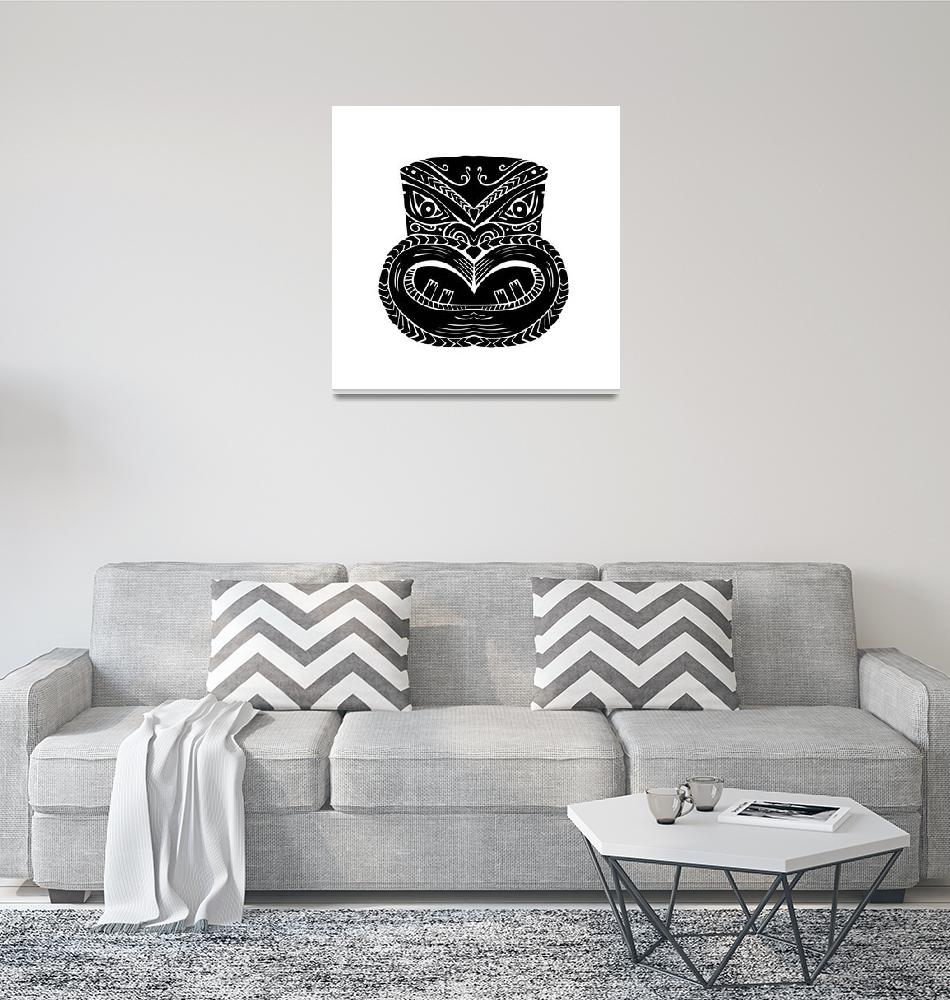 """New Zealand Maori Koruru Tiki Mask Woodcut""  (2017) by patrimonio"
