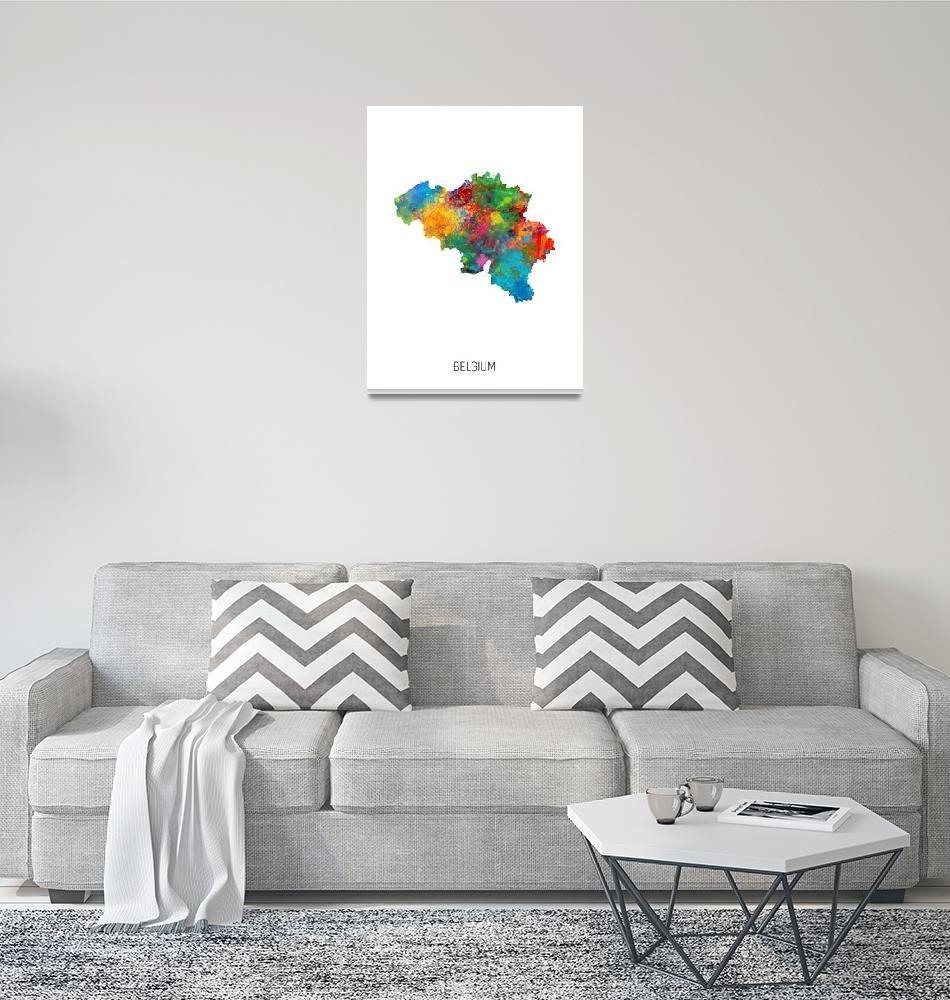 """Belgium Watercolor Map""  (2019) by ModernArtPrints"