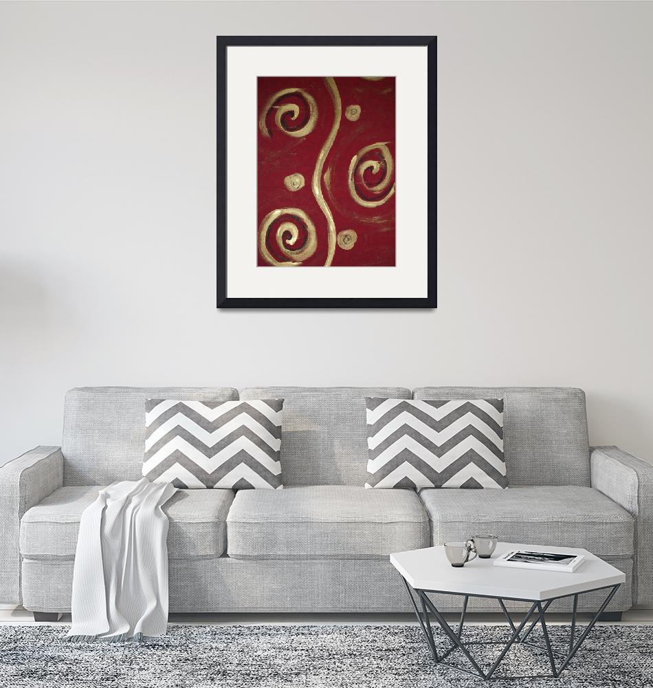 """""""Red and Gold Swirls""""  (2009) by lynnette"""
