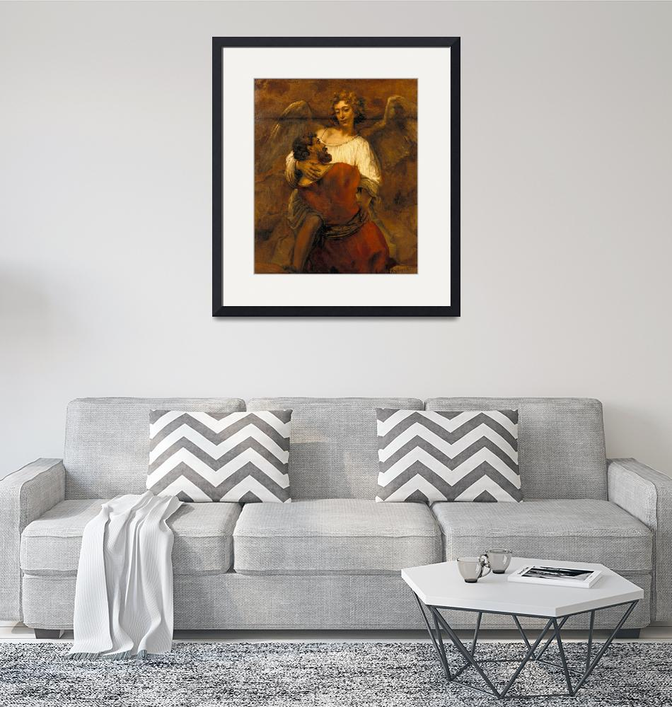 """""""Rembrandt - Jacob Wrestling with the Angel""""  by FineArtClassics"""