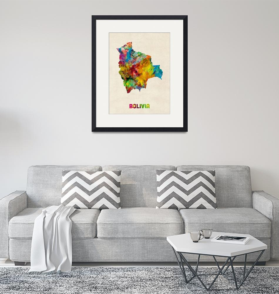 """Bolivia Watercolor Map""  (2014) by ModernArtPrints"