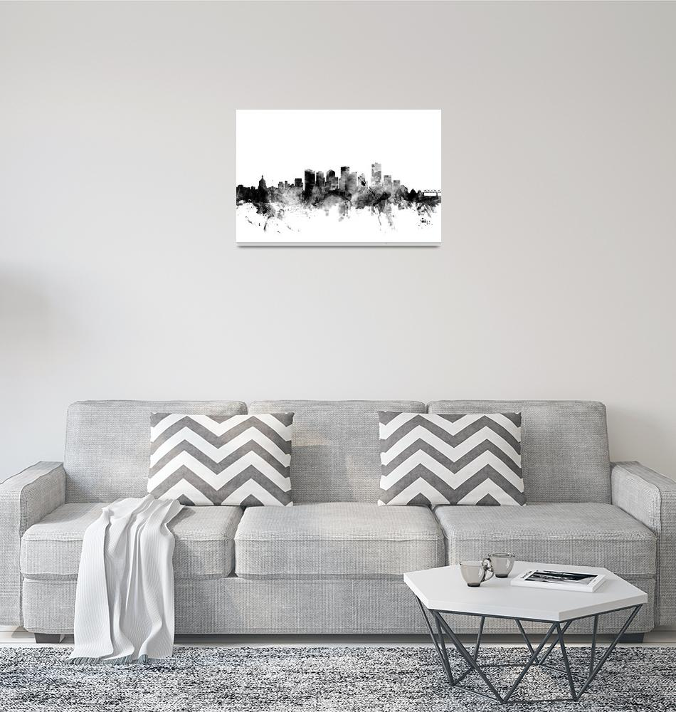 """Edmonton Canada Skyline""  (2015) by ModernArtPrints"