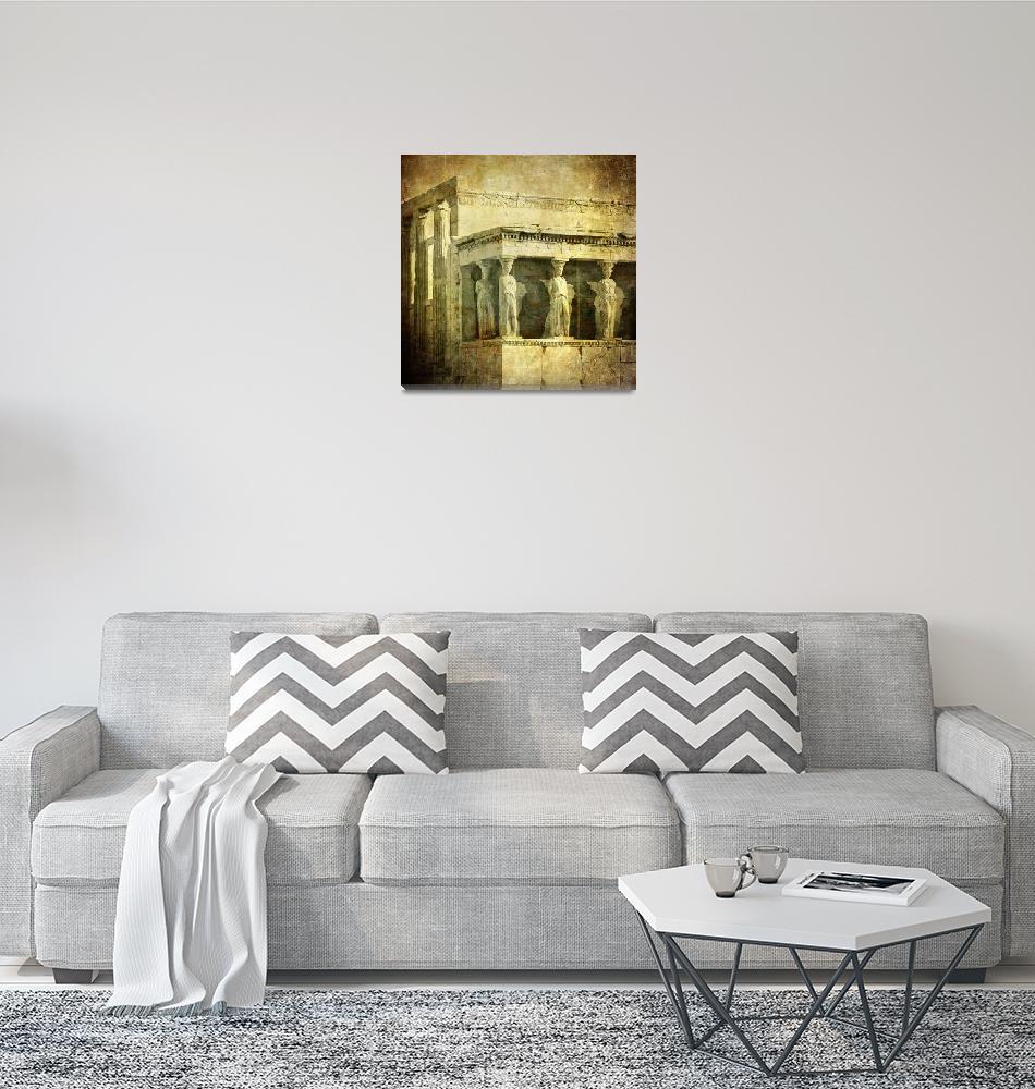 """Vintage image of Caryatids, Acropolis, Athens, Gre""  by kalishko"