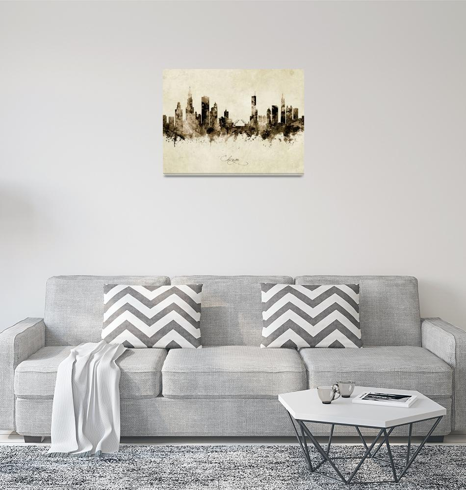 """Chicago Illinois Skyline""  (2019) by ModernArtPrints"