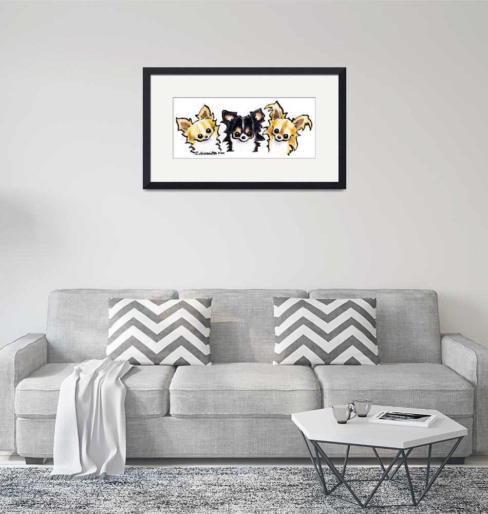 """""""Longhaired Chihuahua Trio""""  (2010) by OffLeashArt"""