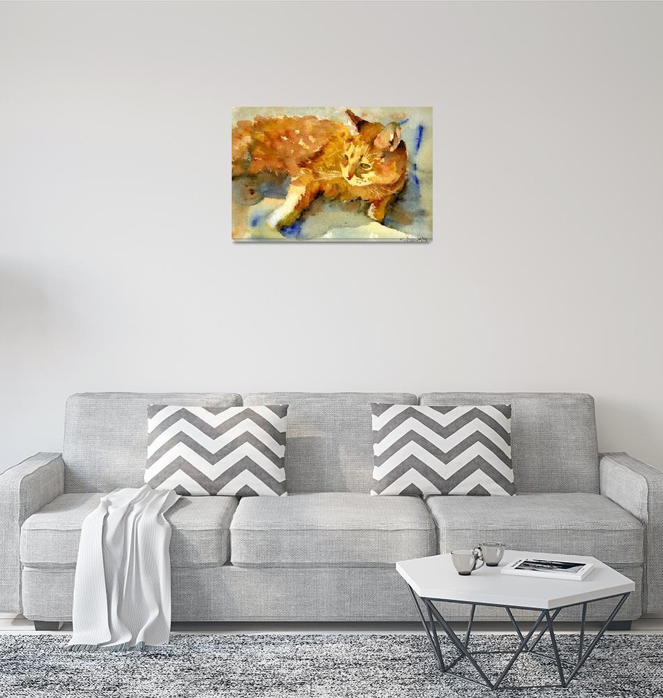 """Tabby Lights, Watercolor Painting Animal Orange Ca""  (2008) by schulmanart"