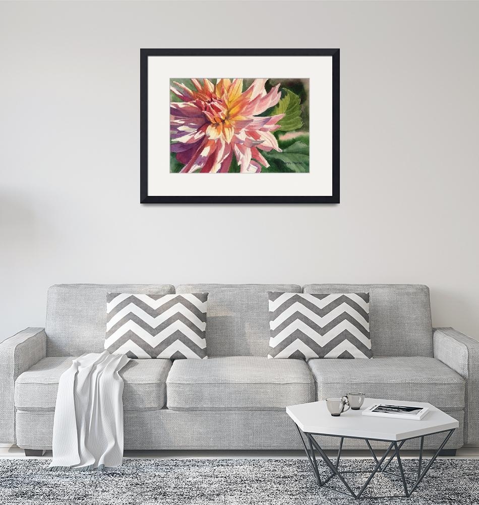 """""""Colorful Dahlia""""  (2011) by Pacific-NW-Watercolors"""