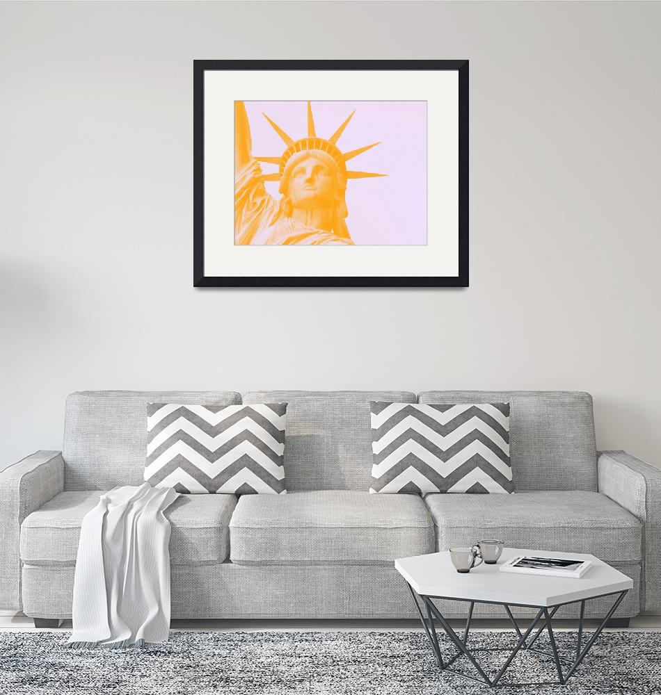 """""""statue of liberty in orange""""  by motionage"""