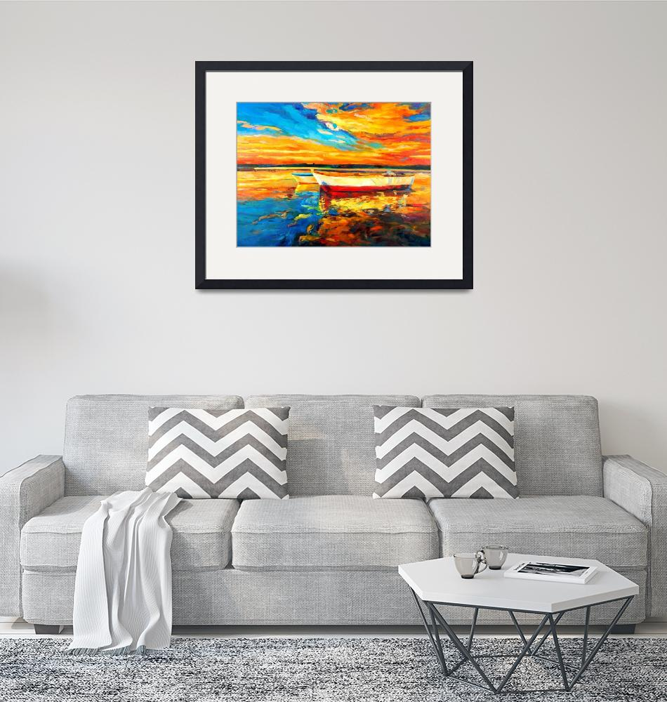 """""""ocean and boats at sunset""""  (2012) by boyan"""