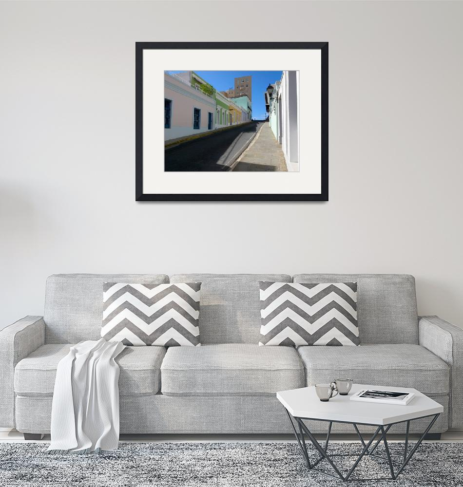"""""""Old San Juan Street on a Hill""""  (2010) by George_Oze"""