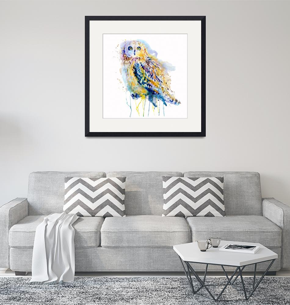 """Short Eared Owl Watercolor Painting""  (2018) by MarianVoicu"