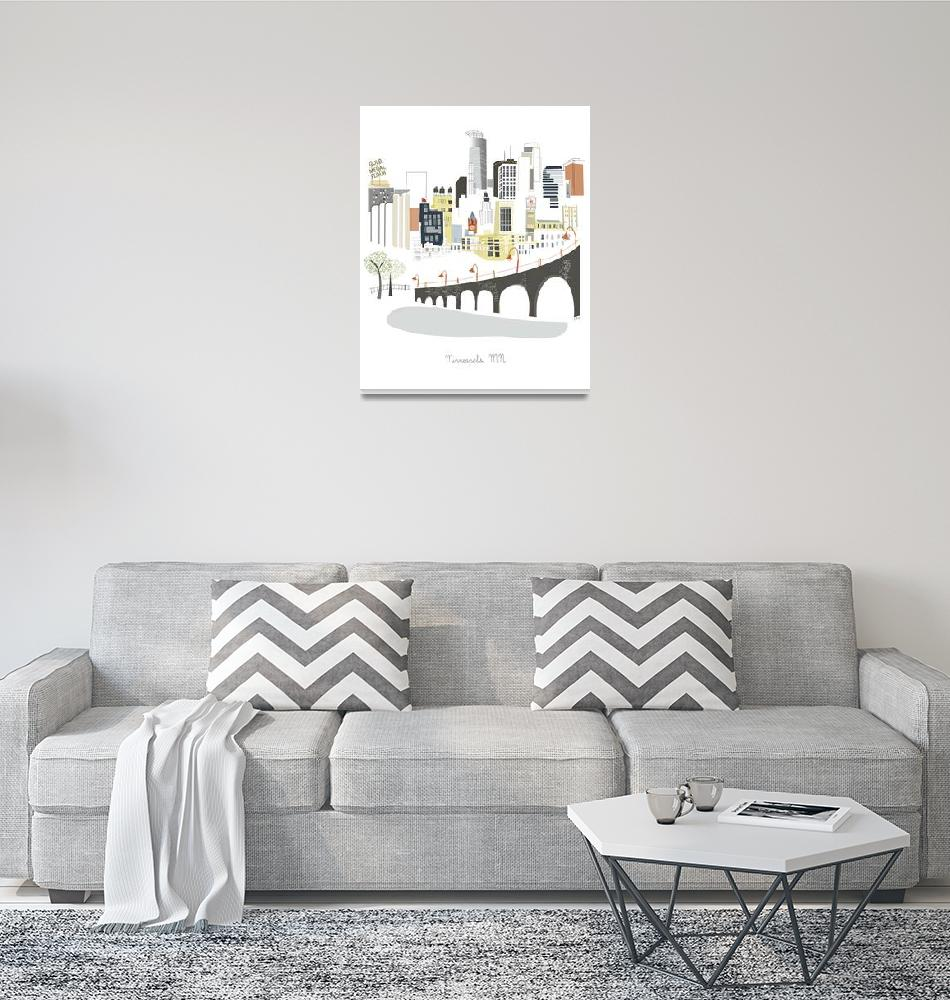 """""""Minneapolis Modern Cityscape Illustration""""  by AlbieDesigns"""