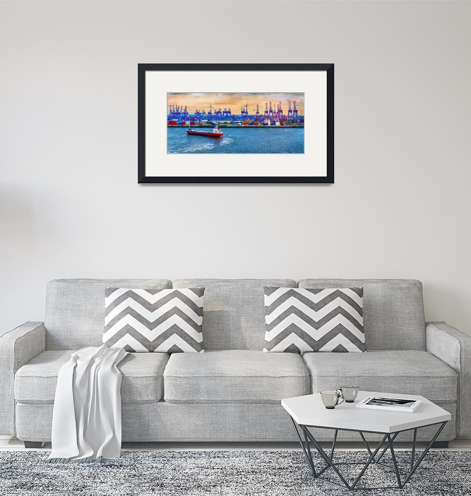 """""""Port of Hamburg on the Elbe River""""  (2019) by WilshireImages"""